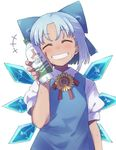 +++ 1girl ^_^ anarogumaaa blue_dress blue_hair bottle cirno commentary_request dress eyes_closed facing_viewer grin head_tilt ice ice_wings nail_polish pink_nails puffy_short_sleeves puffy_sleeves short_hair short_sleeves simple_background smile solo tan touhou upper_body white_background wings