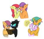 apple_bloom_(mlp) blush book changeling diamond_tiara_(mlp) earth_pony equine feral friendship_is_magic horn horse hug jolliapplegirl kevin_the_changeling(mlp) magic magic_grip mammal my_little_pony pegasus pony scootaloo_(mlp) snails_(mlp) tender_taps_(mlp) unicorn wings