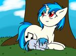 equine family fan_character feral friendship_is_magic fur grass hair horn horse jolliapplegirl mammal mother mother_and_son my_little_pony parent pony red_eyes serenade_(chopin) son tagme unicorn vinyl_scratch_(mlp)