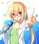 >:o 1girl :o ahoge bangs blonde_hair blue_eyes bottle camisole character_request coat collarbone copyright_request eyebrows_visible_through_hair foreshortening hair_between_eyes half_updo holding holding_bottle index_finger_raised labcoat long_hair looking_at_viewer open_clothes open_coat open_labcoat open_mouth pointing pointing_at_viewer ponytail red-framed_eyewear sidelocks solo toosaka_asagi upper_body water_bottle