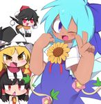 :3 black_hair blonde_hair blouse blue_dress blue_eyes blue_hair braid camera chibi cirno detached_sleeves dress fang flower g_perarikku hair_ribbon hakurei_reimu hat hidden_star_in_four_seasons kirisame_marisa nontraditional_miko one_eye_closed pom_pom_(clothes) red_clothes red_eyes red_ribbon ribbon scarf shameimaru_aya single_braid sunflower surprised tan touhou v white_blouse wings witch_hat yellow_eyes