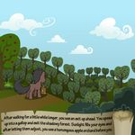 apple_tree bitterplaguerat bush detailed_background earth_pony equine feral horse loki_(bitterplaguerat) mammal my_little_pony plant pony solo text