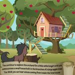 apple apple_tree bitterplaguerat earth_pony equine feral food fruit horse loki_(bitterplaguerat) mammal my_little_pony pony pouch solo text tree tree_house