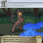 bitterplaguerat bush earth_pony equine feral forest horse loki_(bitterplaguerat) mammal mushroom my_little_pony plant pony scared solo text tree