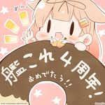 1girl :d black_ribbon blonde_hair chibi doughnut eating fang food food_on_face hair_flaps hair_ornament hair_ribbon hairclip kantai_collection long_hair momoniku_(taretare-13) open_mouth pink_background remodel_(kantai_collection) ribbon smile solo twitter_username yuudachi_(kantai_collection)