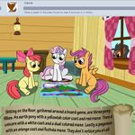apple_bloom_(mlp) bitterplaguerat board_game earth_pony equine feathers friendship_is_magic horn horse loki_(bitterplaguerat) mammal my_little_pony pegasus pony scootaloo_(mlp) sweetie_belle_(mlp) table text unicorn wings