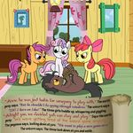 apple apple_bloom_(mlp) apple_tree bitterplaguerat cloud comic dialogue discord_(mlp) earth_pony english_text equine food friendship_is_magic fruit horn horse loki_(bitterplaguerat) mammal my_little_pony pegasus pony scootaloo_(mlp) sweetie_belle_(mlp) text unicorn wings