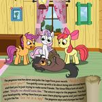 apple apple_bloom_(mlp) apple_tree bitterplaguerat earth_pony equine feathers food friendship_is_magic fruit horn horse interrogation loki_(bitterplaguerat) mammal my_little_pony pegasus pony rope scootaloo_(mlp) sweetie_belle_(mlp) text tree wings