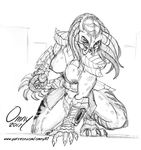 alien armor big_breasts breasts clothed clothing female muscular muscular_female omny87 pencil_(disambiguation) predator_(franchise) sketch topless yautja
