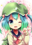 1girl ;d alternate_costume backpack bag blue_eyes blue_hair gradient_hair green_eyes green_hair highres kawashiro_nitori long_sleeves looking_at_viewer multicolored_hair neckerchief one_eye_closed open_mouth paw_pose pocket school_uniform serafuku short_hair smile solo sweater touhou two_side_up upper_body uta_(kuroneko)
