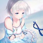 1girl bare_shoulders blue_dress blue_eyes blurry breasts cleavage collarbone crossed_arms depth_of_field detached_sleeves dress frills long_sleeves looking_down original short_hair signature silver_hair small_breasts tears twitter_username upper_body wide_sleeves youqiniang
