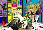 1boy 1girl ahoge black_legwear blonde_hair blue_eyes bottle box brother_and_sister clock drawer gloves hair_ribbon headphones indoors kagamine_len kagamine_rin mushroom photo_(object) plant poster_(object) potted_plant ribbon shoes siblings sitting twins vocaloid white_ribbon white_shoes yuuka_nonoko