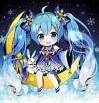 1girl ahoge blue_bow blue_dress blue_eyes blue_gloves blue_hair blue_shoes bow chibi crescent_moon dress fingerless_gloves gloves hair_bow hair_ornament hatsune_miku long_hair looking_at_viewer moon shoes smile snowflakes solo star star_hair_ornament thighhighs twintails very_long_hair vocaloid wand white_legwear yuki_miku yukine_(vocaloid) yuuka_nonoko