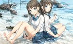 2girls anmi back-to-back bangs bare_legs barefoot beach black_hair blue_eyes blush bottle day leg_hug loafers long_hair long_sleeves looking_at_viewer multiple_girls no_shoes ocean one_side_up open_mouth original outdoors pleated_skirt sand school_uniform serafuku shoes shoes_removed sitting skirt sleeves_rolled_up smile toes water wet wet_clothes yokozuwari