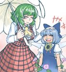 +++ 2girls :d ^_^ arms_at_sides ascot blue_bow blue_dress blue_hair blush bow cirno clenched_hands cowboy_shot dress eyebrows_visible_through_hair eyes_closed flower frilled_sleeves frills gradient gradient_background green_hair hair_bow hand_on_another's_head hands_up happy hell_angel hidden_star_in_four_seasons holding holding_umbrella ice ice_wings kazami_yuuka laughing leaf long_sleeves multiple_girls open_mouth parasol petting plaid plaid_skirt plaid_vest puffy_short_sleeves puffy_sleeves shirt short_hair short_sleeves skirt skirt_set smile sunflower tan touhou umbrella vest wing_collar wings