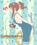 1girl alternate_hairstyle arms_behind_back brown_eyes brown_hair closed_mouth convenient_censoring copyright_name fish flat_chest flower galilei_donna gears goldfish hair_flower hair_ornament hair_scrunchie hands_clasped hourglass hozuki_ferrari italian jewelry leaning_forward long_hair naked_overalls necklace outstretched_arms overalls own_hands_together ponytail screw scrunchie sidelocks sideways_mouth smile striped takagi_hideaki vertical-striped_background vertical_stripes