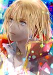 1boy bangs blonde_hair blue_eyes blurry blurry_background bokeh closed_mouth collared_shirt commentary_request crystal_earrings depth_of_field earrings expressionless eyelashes face gem gold_trim hair_between_eyes high_collar highres howl_(howl_no_ugoku_shiro) howl_no_ugoku_shiro jacket jacket_on_shoulders jewelry lips looking_afar looking_up male_focus multicolored multicolored_clothes multicolored_jacket necklace popped_collar shirt short_hair solo tomatika upper_body white_shirt