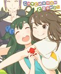1boy 2girls :d ;q ^_^ animal animal_on_shoulder bird_hair_ornament black_cat breasts brown_eyes brown_hair cat cat_on_shoulder cheek-to-cheek choker collarbone copyright_name eyes_closed gatchaman_crowds glomp green_hair hair_flaps hair_ornament happy holding hug ichinose_hajime large_breasts lipstick long_hair looking_at_another makeup multiple_girls o.d. one_eye_closed open_mouth origami outline outstretched_arms parted_lips purple_hair school_uniform short_hair sleeveless smile takagi_hideaki tongue tongue_out utsutsu white_background yellow_lipstick yellow_sclera