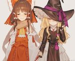 2girls bangs bare_shoulders black_gloves blonde_hair blunt_bangs blush bow brown_hair detached_sleeves embarrassed eyes_closed frown gloves hair_bow hair_tubes hajin hakurei_reimu hand_holding hat hat_over_one_eye hat_ribbon hat_tug kirisame_marisa large_bow long_hair messy_hair multiple_girls petticoat pouch ribbon scarf skirt smile smug touhou trench_coat turtleneck wavy_hair witch_hat yuri