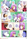 2017 5_fingers anthro arm_grab badger black_nose blue_eyes brown_fur canine clothed clothing comic curtains deckland_(tokifuji) dialogue digital_media_(artwork) english_text equine eyebrow_piercing eyebrows facial_piercing fully_clothed fur gavin_(tokifuji) green_eyes grey_fur group hair hi_res horse humanoid_hands inner_ear_fluff inside jacket jewelry male mammal mustelid necklace necktie open_mouth patreon piercing pink_nose pointing purple_hair reggie_(tokifuji) school_uniform shirt speech_bubble text tokifuji topless uniform url weasel white_fur white_hair wolf