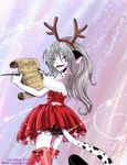 animal_humanoid bow cat cat_humanoid christmas clothed clothing costume feline female grey_hair hair holidays humanoid legwear leopard long_hair looking_at_viewer mammal naveed_catlos panties pascalle_lepas pinup pose red_eyes snow_leopard stockings underwear upskirt zap_in_space_comic