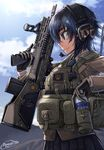1girl assault_rifle black_skirt blue_eyes blue_hair blue_sky bottle brown_gloves brown_jacket buttons closed_mouth cloud cloudy_sky dated day dreadtie dress_shirt from_side gloves gun headset highres holding holding_bottle holding_gun holding_weapon load_bearing_vest long_sleeves necktie original outdoors plaid plaid_necktie plaid_skirt profile rifle school_uniform shirt short_hair signature skirt sky smile solo trigger_discipline upper_body water_bottle weapon