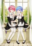 2girls :d black_shoes blue_hair blush breasts cleavage cup curtains detached_sleeves e_neko feeding food full_body hair_ornament hair_over_one_eye highres holding holding_spoon indoors light_particles long_sleeves looking_at_another looking_at_viewer maid maid_headdress mary_janes medium_breasts multiple_girls open_mouth pantyhose pink_hair plate pudding ram_(re:zero) re:zero_kara_hajimeru_isekai_seikatsu rem_(re:zero) ribbon-trimmed_clothes ribbon-trimmed_sleeves ribbon_trim shoes short_hair siblings sisters sitting smile teacup tray twins white_legwear wide_sleeves window x_hair_ornament