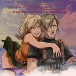 1boy 1girl ashley_graham belt blonde_hair blush breasts breasts_on_back brown_eyes brown_hair constricted_pupils english erect_nipples flirting highres jet_ski large_breasts leon_s_kennedy naughty_face panties panty_pull plague_of_gripes plaid plaid_skirt purple_panties rejection resident_evil resident_evil_4 short_hair skirt sleeveless sleeveless_turtleneck text truth turtleneck underwear wind wind_lift