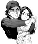1boy 1girl ainu arms_around_neck asirpa black_hair black_hat black_shirt closed_mouth earrings facial_scar forehead golden_kamuy greyscale hat head_tilt hoop_earrings hug hug_from_behind jewelry kimidake locked_arms long_hair long_sleeves looking_to_the_side messy_hair monochrome scar shirt short_hair simple_background sugimoto_saichi tight_shirt white_background
