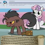 bitterplaguerat dialogue earth_pony english_text equine fan_character friendship_is_magic green_eyes horn horse loki_(bitterplaguerat) mammal my_little_pony pony sweetie_belle_(mlp) text unicorn yellow_eyes