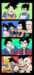 4koma abs alternate_hairstyle armlet armor bald broly circlet clenched_hands collarbone comic crossed_arms dougi dragon_ball dragonball_z earrings facial_hair formal frown gaijin_4koma gloves highres jewelry muscle mustache nappa neck_ring necktie one_eye_closed open_mouth pesogin pointing raditz shoulder_armor smile son_gokuu sparkle striped striped_necktie suit super_saiyan tullece vegeta white_gloves