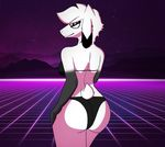 anthro arin armpits big_butt bikini black_arms black_eyes black_nipples breasts butt caprine clothing eyewear female fur glasses goat hair hi_res horn looking_at_viewer looking_back mammal mustarrboy nipples pose seductive smile solo swimsuit white_eyes white_fur white_hair