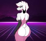 anthro arin big_butt black_arms black_eyes black_nipples breasts butt caprine eyewear female fur glasses goat hair hi_res horn looking_at_viewer looking_back mammal mustarrboy nipples pose smile solo white_eyes white_fur white_hair