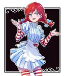 1girl apron black_background blue_eyes commentary detached_sleeves dress freckles gloves hair_ribbon iesupa mascot pun red_hair ribbon short_twintails shrug smile smug solo striped striped_dress striped_gloves thighhighs twintails wendy's wendy_(wendy's)