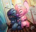 2017 alien angel_(lilo_and_stitch) antennae arm_grab bathroom black_claws blue_fur chest_fur claws cute depth_of_field detailed_background digital_media_(artwork) disney duo dutch_angle experiment_(species) eyes_closed fur grumpy lilo_and_stitch narico philtrum pink_fur romantic_couple signature smile spill stitch toothbrush toothpaste