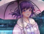 azaka_(rionrita) blush breasts close cropped fate/stay_night fate_(series) matou_sakura purple_eyes purple_hair ribbons short_hair snow tears umbrella waifu2x