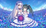 2girls alternate_costume alternate_eye_color bouquet breasts dress echj elbow_gloves flower gloves green_eyes green_hair headband kantai_collection large_breasts long_hair long_sleeves multiple_girls one_eye_closed petals red_eyes red_rose rose shoukaku_(kantai_collection) silver_hair small_breasts tongue tongue_out twintails white_dress zuikaku_(kantai_collection)