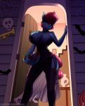 2018 absurd_res anthro anthrofied big_breasts bowl breasts building candy chest_tuft clothed clothing collar condom darkhazard digital_media_(artwork) door dress earth_pony equine fangs female food friendship_is_magic garter_straps hair halloween hi_res holding_object holidays horse house legwear looking_at_viewer looking_down mammal mrs_cake_(mlp) my_little_pony pink_eyes pink_hair pony short_hair signature solo thigh_highs tuft url