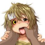 1boy 1girl blonde_hair drooling eyepatch finger_in_mouth heterochromia medical_eyepatch messy_hair mouth_pull open_mouth original pov rai-rai saliva short_hair simple_background teeth tongue tongue_out uvula white_background yellow_eyes