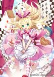 1girl akkijin blonde_hair blue_eyes board_game card chess chessboard clock cloud clubs cookie cup diamond_(symbol) dress falling food hair_ribbon heart open_mouth pink_dress pink_ribbon pink_sky ribbon shinkai_no_valkyrie solo spade teacup