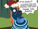 2018 badumsquish box christmas coal coiling dialogue excited fan_character fangs female gift grin hair happy hat holidays kalianne lamia my_little_pony orange_hair reptile santa_hat scalie smile snake solo squee