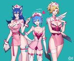 3girls adapted_costume ahri animal_ears arm_tattoo artist_name bangs bare_shoulders belt blonde_hair blue_eyes blue_hair blunt_bangs blush bow bow_legwear breasts choker citemer cleavage clipboard closed_mouth collarbone collared_dress commentary contrapposto corset cowboy_shot cross cross_print crossover detached_collar dress elbow_gloves english eyes_visible_through_hair fingernails fox_ears garter_straps gloves gluteal_fold green_background groin hair_between_eyes hair_bow hair_ornament hairpin hand_on_hip hand_on_own_chest hand_up hat heart heart_choker heart_hair_ornament high_ponytail holding large_breasts league_of_legends leg_garter legs_together leotard lipstick long_fingernails looking_at_viewer makeup medium_breasts mercy_(overwatch) multiple_girls nail_polish neck_ribbon nose nurse nurse_cap open_mouth overwatch pink_belt pink_bow pink_dress pink_hat pink_lips pink_lipstick pink_nails pink_ribbon purple_ribbon re:zero_kara_hajimeru_isekai_seikatsu red_leotard red_nails rem_(re:zero) ribbon round_teeth short_dress short_hair short_wings shoulder_pads simple_background single_wing skindentation sleeveless sleeveless_dress smile standing strapless strapless_leotard syringe tassel tattoo teeth thigh_strap thighhighs upper_teeth white_bow white_choker white_gloves white_legwear wing_collar wings wrist_cuffs x_hair_ornament yellow_eyes