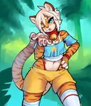 anthro blowing_kiss clothed clothing collar crossdressing feline front_view girly hand_on_hip looking_at_viewer male mammal one_eye_closed portrait smile solo standing three-quarter_portrait tiger wink zerolativity