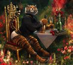 2017 alcohol anthro beverage black_fur bottle bottomless bracelet chair champagne clothed clothing feline flower fur glass jewelry kenket looking_at_viewer male mammal necklace orange_eyes orange_fur partially_clothed plant rose sitting solo stripes table tablecloth tacklebox teeth throne tiger traditional_media_(artwork) underwear whiskers white_fur