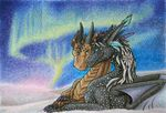 ambiguous_gender blue_eyes detailed_background dragon duo feral horn membranous_wings samantha-dragon smile smooth_horn traditional_media_(artwork) wings