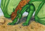 ambiguous_gender day dragon feral green_skin hair membranous_wings outside samantha-dragon solo standing teeth traditional_media_(artwork) wings yellow_eyes