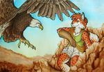 anthro avian beak bird clothed clothing day duo eagle feathered_wings feathers feline female feral fur mammal orange_fur outside samantha-dragon sky spots spotted_fur traditional_media_(artwork) wings yellow_beak