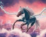 ambiguous_gender day detailed_background equine feral flying hair mammal outside pegasus samantha-dragon sky solo white_hair wings