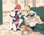 1boy 1girl bare_shoulders barefoot blonde_hair boots_removed bow braid couch dress eyes_closed facepalm felt_(re:zero) gloves gloves_removed hair_bow indian_style re:zero_kara_hajimeru_isekai_seikatsu red_hair reinhard_van_astrea sitting sogekishu_(sni8er) uniform