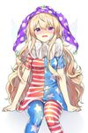 1girl ahoge american_flag_dress american_flag_legwear bandaid bandaid_on_face blonde_hair blush cheunes clownpiece crying crying_with_eyes_open dress fairy_wings hair_between_eyes hat highres jester_cap long_hair looking_at_viewer neck_ruff polka_dot_hat purple_eyes purple_hat short_sleeves sidelocks simple_background sitting solo star star_print striped striped_dress tears touhou very_long_hair wavy_hair white_background wings
